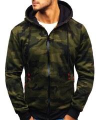 Maskáčovo-zelená pánská propínací mikina s kapucí Bolf 33017 dd7ca5a5d2