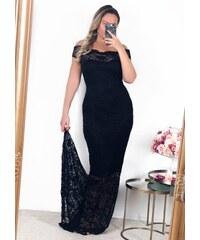 ZAZZA Dlhé čierne čipkované šaty 883e254e896