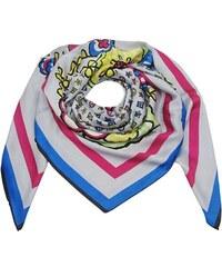 Šedý velký čtvercový šátek s potiskem dec1793964