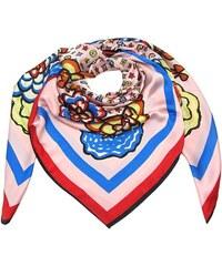 Růžový luxusní velký šátek čtvercový s potiskem 99322a2fd1