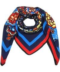 Elegantní modrý čtvercový velký šátek s potiskem 06528b9889