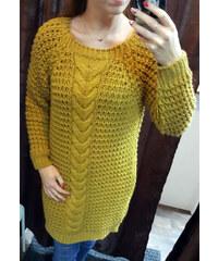 Made in Italy Dámský dlouhý svetr hořčicové barvy b5fd042b89