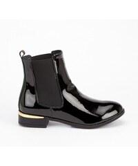5fa22ac06570 Dámské černé lesklé kotníkové boty Pedie 1632