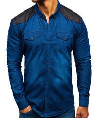 Modrá pánská kostkovaná košile s dlouhým rukávem Bolf 8809 - Glami.cz 88af64054a