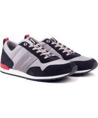 4d7eae333f Tommy Hilfiger szürke férfi tornacipő Iconic Material Mix Runner Midnight-Light  Grey-Tango Red