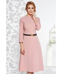 e0bcc02874 StarShinerS Rózsaszínű irodai harang ruha enyhén elasztikus pamut zsebes öv  típusú kiegészítővel