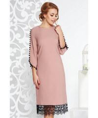 StarShinerS Rózsaszínű elegáns bő szabású ruha enyhén rugalmas anyag csipke  díszítéssel bojtos ujjakkal a1982c8fec