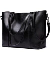 bbc88ec053 Miss Lulu luxusní černá kabelka z imitace voskované kůže 6709