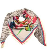 Béžový elegantní velký šátek čtvercový s potiskem 30ee37f322