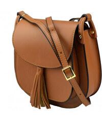 Kožená větší hnědá camel crossbody kabelka na rameno bella VERA PELLE 21986 cc856c47ec1