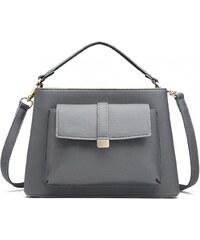 Miss Lulu šedá crossbody kabelka s přední kapsou 1770 5b0ba4b5722