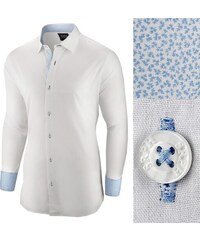 1e994690d5 Seraph Elegantná biela pánska košeľa so vzorom