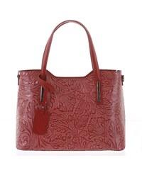 Veľká dámska kožená kabelka červená so vzorom - ItalY Afrodite červená 1757fe78fdd