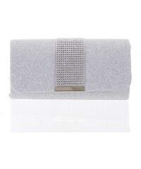 Luxusná diamantová strieborná listová kabelka s glittrom - Delami D699  strieborná 04d3c75b344