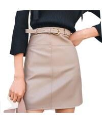 Armiciya Podzimní sukně s opaskem z hladké PU kůže 2e00de5e02