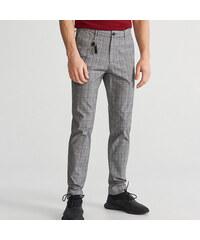 Reserved - Kostkované kalhoty slim fit - Šedá d18f9f92a0