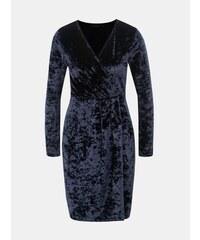 4c6d7aee819 Dorothy Perkins tmavě modré sametové šaty s překládaným výstřihem XL
