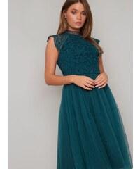 a7e63e9abe32 Chi Chi London Chi Chi Raelyn Zelené Šaty s Čipkovaným Topom
