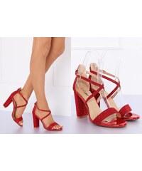e2dbcaf2e370 BELER Dámské třpytivé sandály Ansonia červené