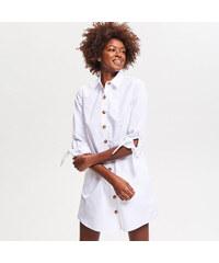 Reserved - Bavlněné košilové šaty - Bílá 3b510be967