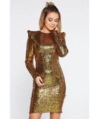 2b0615b7c4 StarShinerS Arany alkalmi flitteres ruha szűk szabással belső béléssel