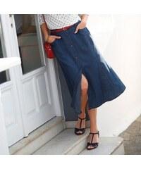 Blancheporte Polodlouhá džínová sukně modrá 34aea3cd2b