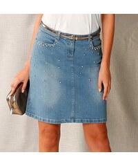 Blancheporte Džínová sukně s korálky sepraná modrá f419c8ee48