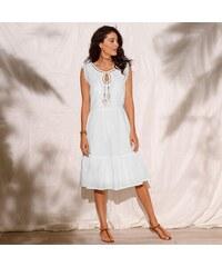 919fd71b24e Blancheporte Volánové šaty s macramé bílá