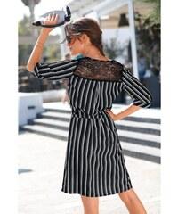 4a94275e746 Blancheporte Pruhované šaty s krajkou černá bílá