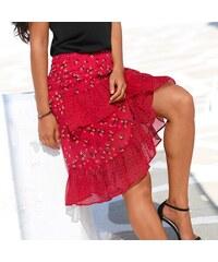3f53dc46bc6e Blancheporte Volánová asymetrická sukně červená černá