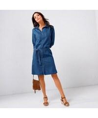9253ec9b900 Blancheporte Košilové džínové šaty sepraná modrá