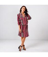 Blancheporte Košilové pruhované šaty proužky černá červená režná 95853a06e3