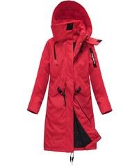 LJR Dámský zimní kabát z přírodního peří červený (17116) - S (36) a3a6305a071