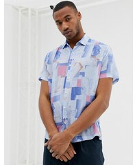 2f498ad721 ASOS DESIGN relaxed 90 s style vintage print shirt in blue - Blue