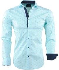 6d76f5c48bb6 Sette Fratelli Tyrkysová pánska košeľa s drobným vzorom