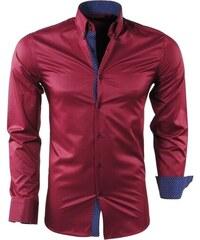 1f400a363b54 MONTANZINI Bordová pánska košeľa s jemnými pásikmi