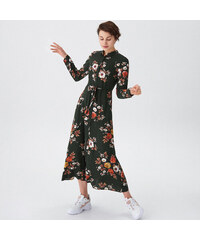 House - Kvetované maxi šaty - Khaki 51dfbb9732