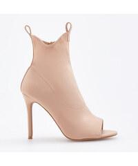 Reserved - Kotníkové boty s otevřenou špičkou - Krémová 6813f9e001