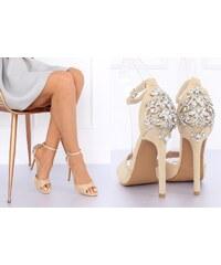 358f7608aba1 BELER Sandály s kamínkovým ornamentem Oralee béžové