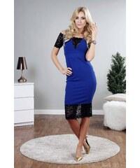 bc67574fb59 FASARDI Kráľovsky modré šaty doplnené čipkou  S