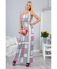 FASARDI Vzorované letné maxi šaty na ramienka  S 72910348a82