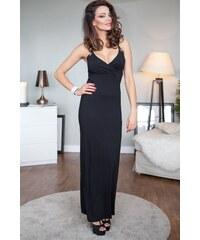 FASARDI Čierne šaty na ramienka s véčkovým výstrihom  S 2c0bba90ad3