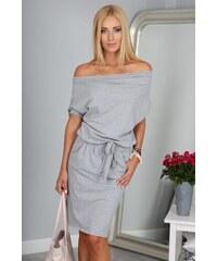 FASARDI Krásne letné sivé šaty s viazaním okolo pásu  S 58c1e92ab49