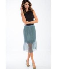 57319f14b895 FASARDI Zelená tylová midi sukňa  M