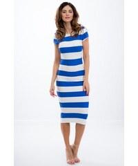 98246303201d FASARDI Letné pásikavé modré midi šaty s krátkym rukávom  S