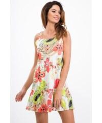 FASARDI Smotanové šaty s potlačou koralových kvetov  L a59ee381d88