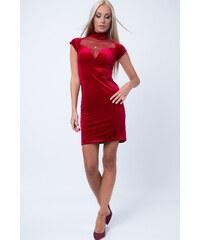 FASARDI Velúrové šaty s priehľadným výstrihom dc821f3d5d2