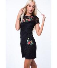 18e0daa7baa FASARDI Čipkové šaty s výšivkou s kvetinovým motívom