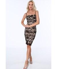 FASARDI Čierne dámske čipkované šaty s tenkými ramienkami  L 6e8a459f91d