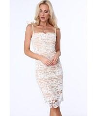 39f3e2a7b814 FASARDI Béžové dámske čipkované šaty s tenkými ramienkami  S